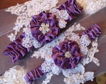 Bridal Garter set with Amethyst Purple Rose, Lace Daisies and Rhinestone Center, Wedding Garter Set