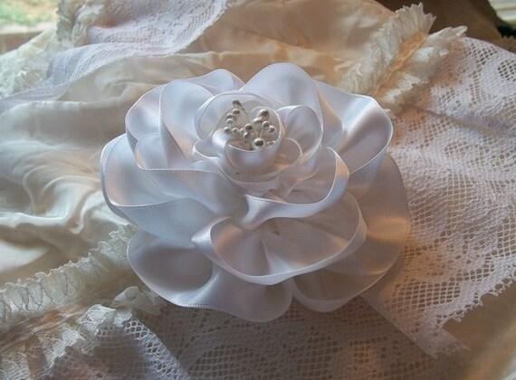 White Rose Hair Flower Fascinator