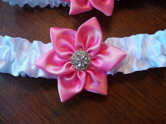 Pink Wedding Garter with toss garter, Pink Star Flower and White Satin