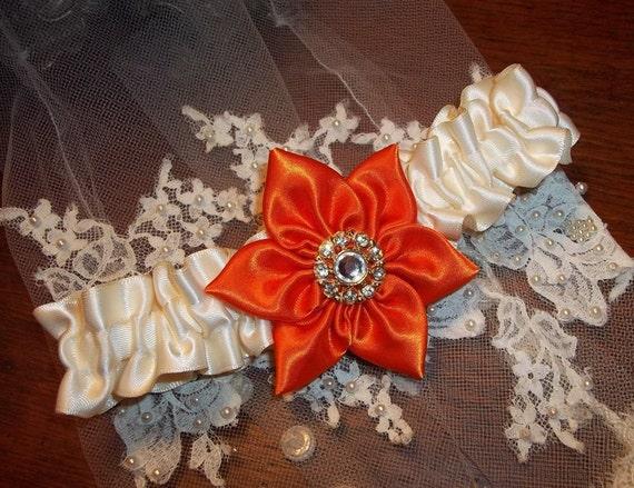 Orange and Ivory Toss Garter, Orange Satin Flower with Rhinestone Button wedding garter