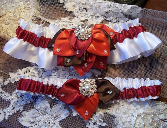Fall Foliage Bridal Garter (Set), White Satin with leaves in Chocolate Truffle, Apple Red & Persimmon, Poppy Autumn Wedding Garter Set