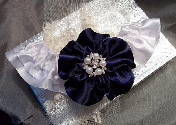 Wedding Garter Navy Blue and White with Pearl and Rhinestone Center, Bridal Garter