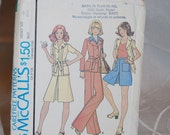 McCalls Vintage 1975 Pattern 4455 in Size 10 Casual Unlined Jacket  Pants Skirt  Flared Pants Skirt  New/Old in Factory Fold Epsteam