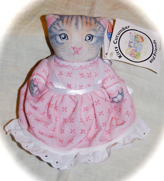 Vintage Kitty Cucumber Bean Bag Doll