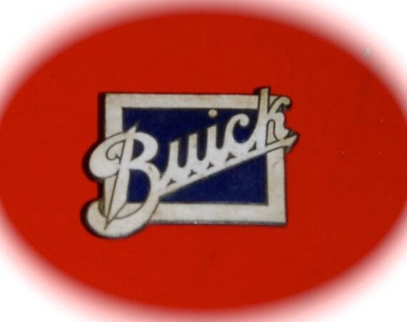 Vintage Buick Metal and Enamel Car Emblem   White Enamel on Navy  Vintage Car Accessories Collectible