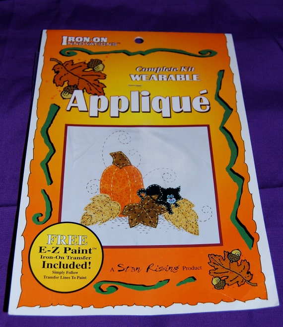 """Iron On with Ultra Bond Adhesive Backing Applique Kit of """"Pumpkin with Playful Kitty"""", by Star Rising"""