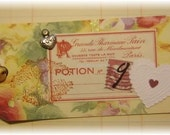 "love gift tag, handmade vintage look, mixed media: ""Love Potion No.9"""