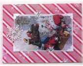 "Christmas card, handmade, vintage look, mixed media: ""Best Christmas Wishes"""