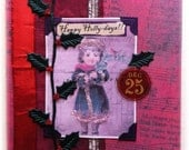 "Christmas card, handmade, vintage look, mixed media: ""Happy Holly-days"""