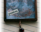 "Valentine ornament, handmade vintage look mixed media: ""Passion"""
