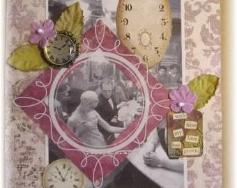 """love or anniversary card, handmade  vintage look mixed media collage: """"With Time"""""""