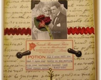 """love or anniversary card, handmade vintage look mixed media collage: """"Toothpaste Kisses"""""""