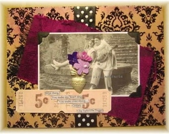 """love card, handmade vintage look mixed media collage: """"Wild Thing"""""""