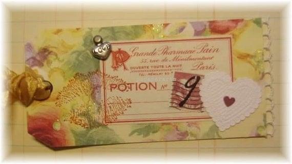 "love gift tag, handmade vintage look, mixed media: ""Love Potion No.9"""