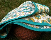 Moroccan Turquoise - Baby Quilt, yellow, turquoise and white, 100 percent cotton, gender neutral