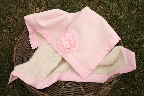 Pink Sherpa- baby girl blanket, cream sherpa, pink suede, pink satin border 32x36, wooly, warm and fuzzy