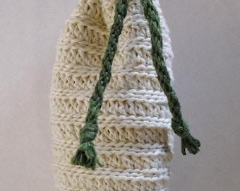 Hand Crocheted Hemp Drawstring Bag