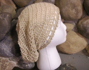 100% Undyed Hemp Hand Crocheted Natural colored Super Slouch Beanie