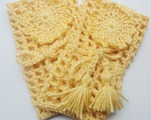 Bohemian Style Arm Warmers - Golden rod yellow crochet arm warmers with fringe drawstring