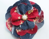 Large Denim Fabric Brooch - re-purposed dark denim and red floral fabric with small ivory button