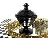 Early 1930s Powder Jar - Black Depression Glass in Colonial Block Pattern by Hazel Atlas