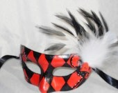Masquerade Black and Red Harlequin Mask