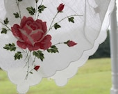 Vintage Pink Rose Embroidered Handkerchief with Scalloped Edging