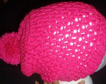Pom-Pom Slouch Hat-Hot Pink