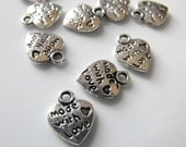 "RESERVED - Tiny Antique Silver Heart Charm Pendant Tag - ""Made With Love"" - 10mm - 100 pcs"