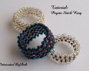 PDF Tutorial for Beaded Peyote Ring - Seed Bead Jewelry Beading Pattern, Beadweaving Instructions, Instant Download, Do It Yourself, How To