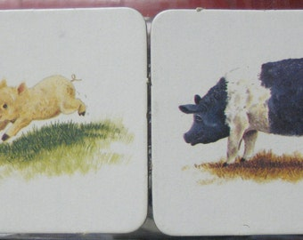 2 Upcycled Pig and Piglet Magnets From the 1980 Animal Families Memory Game