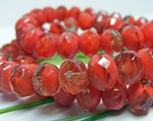 Czech Glass Rondell Bead CORAL PASSION 6mm x 8mm 12ea