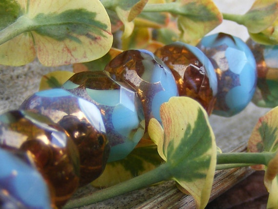 EXOTIC SEA . Picasso Czech Glass Beads . 6x8mm .12ea