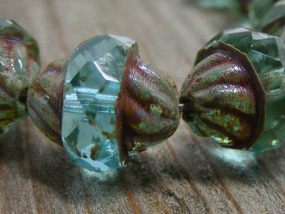 AQUA EYES . Picasso Czech Glass Turbine Beads 11x10mm 6 ea - glass czech bead, picasso glass bead, transparent middle