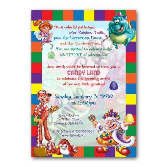 Personalized CANDYLAND Birthday Or Shower Invitation Digital