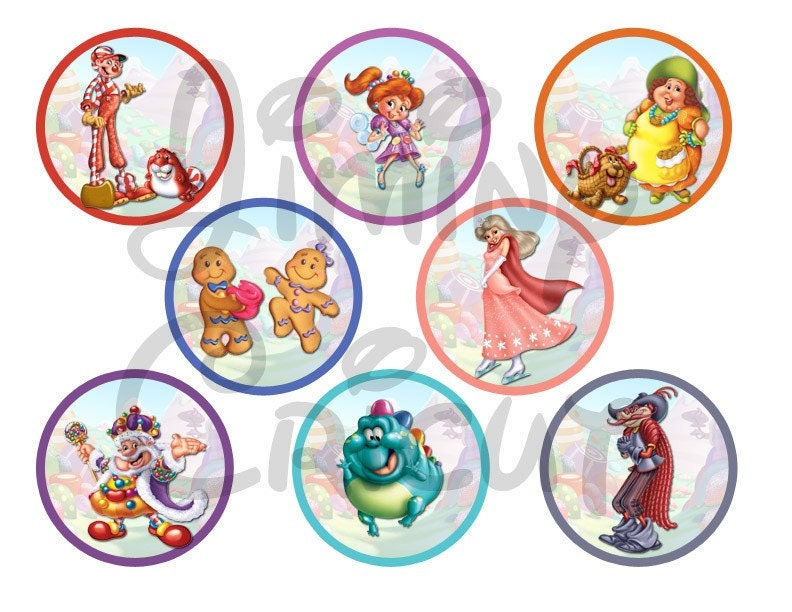 Candyland Characters Cupcake Toppers Tags Seals Decorations