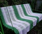 White and green striped blanket lovely summer oryginal crochet