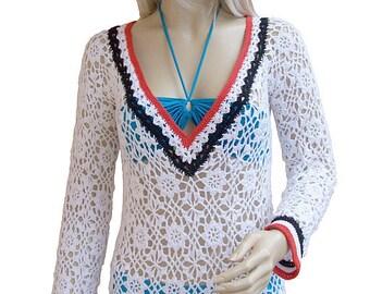 Crocheted sweater-tunic made to order, crochet handmade