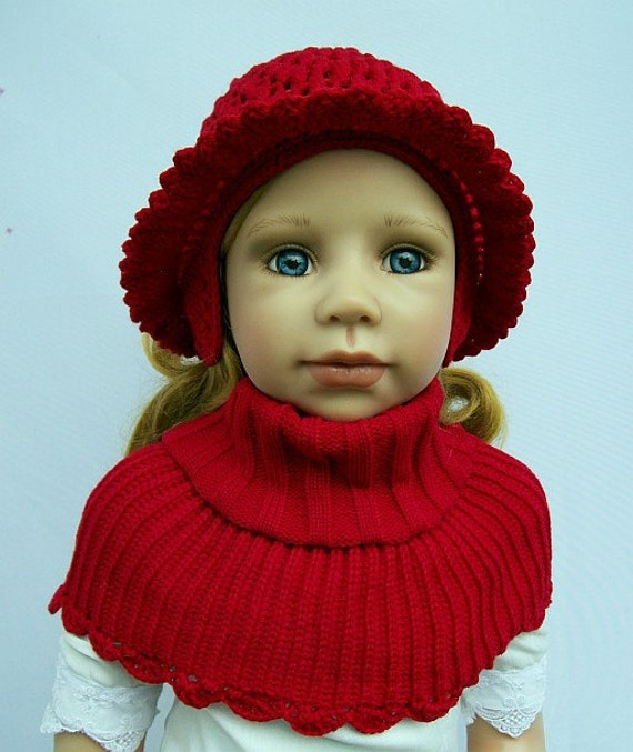 crocheted Hat and poncho (red)