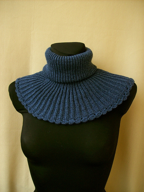 Multicolor (Dark blue and blue) Neckwarmer  Poncho  Cowl Unisex