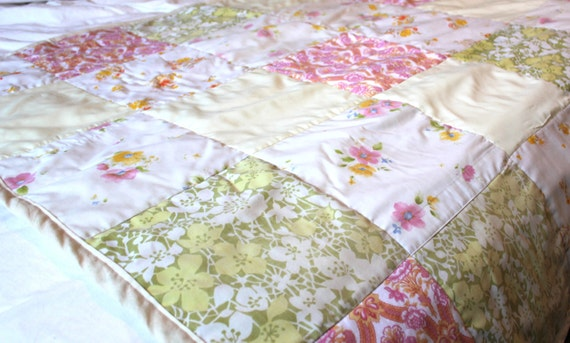 Upcycled Vintage Fabric Quilted Throw Blanket