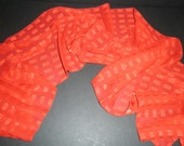 Vintage Fashion Scarf Red Sheer Checkered Pattern BRIGHT Holiday Cheer