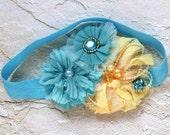 Girl Turquoise shabby headband hair pin hair clip for Photo prop flower newborn baby girl