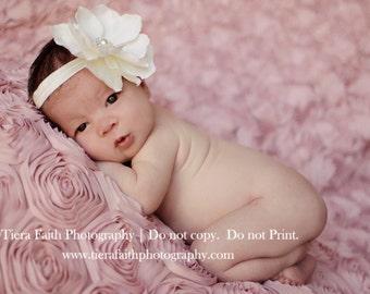 Ivory Headband for Newborn Baby Girl Photo Prop - Magnolia Silk Flower Hair Clips for Flower Girl, Baptism, Baby Shower Gift