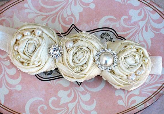 Ivory headband Photo prop wedding flower newborn baby girl