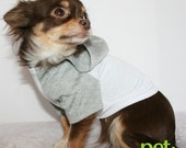 Grey and white Summer Jersey chihuahua dog Hoodie Size Medium SALE