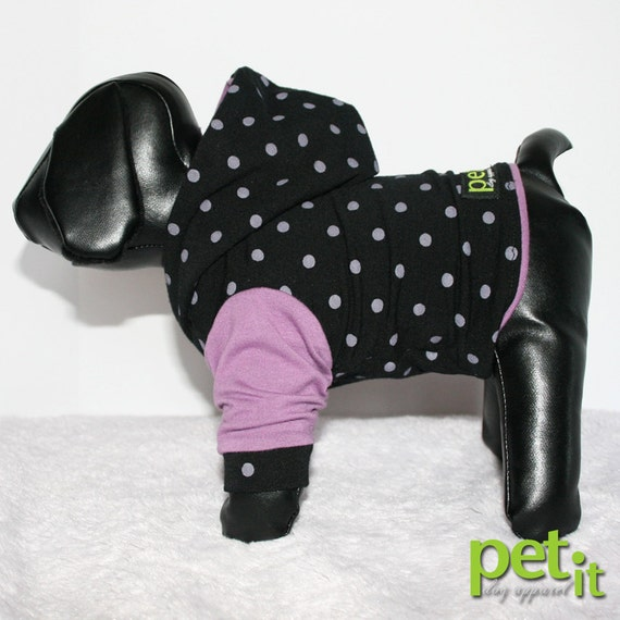 Lavender dot cute althletic small dog clothes Hoodie sizes XXS - S Left
