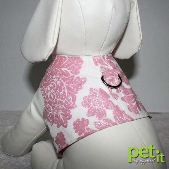 Pink sparkle damask girly walking small dog harness SMALL sale