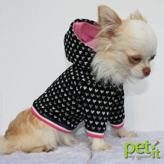 Sparkle Hearts Pink  cute chihuahua hoodie ooak size XS