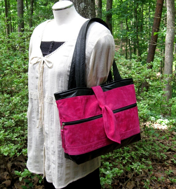 Sale - Was 99.00 - Recycled Leather Handbag - Color Blocked Hot Pink & Black - Upcycled Leather Bag